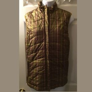 New LANDS END Plaid Puffer Vest Jacket Coat Stripe